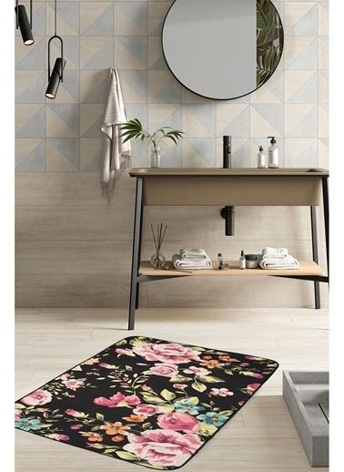 Hamur Floral 75x125 cm Banyo Paspası Kaymaz Taban Banyo Halısı Siyah